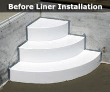 Pool Steps For Vinyl Liner Pools. Need To Add Or Replace A Set Of Steps?  Have Us Install A Wedding Cake Style Step.